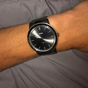 men's gunmetal gray minimalist fossil watch